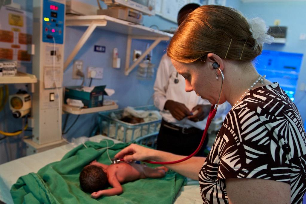 Dr. Marty Steeres examining patients at Kijabe Hospital.